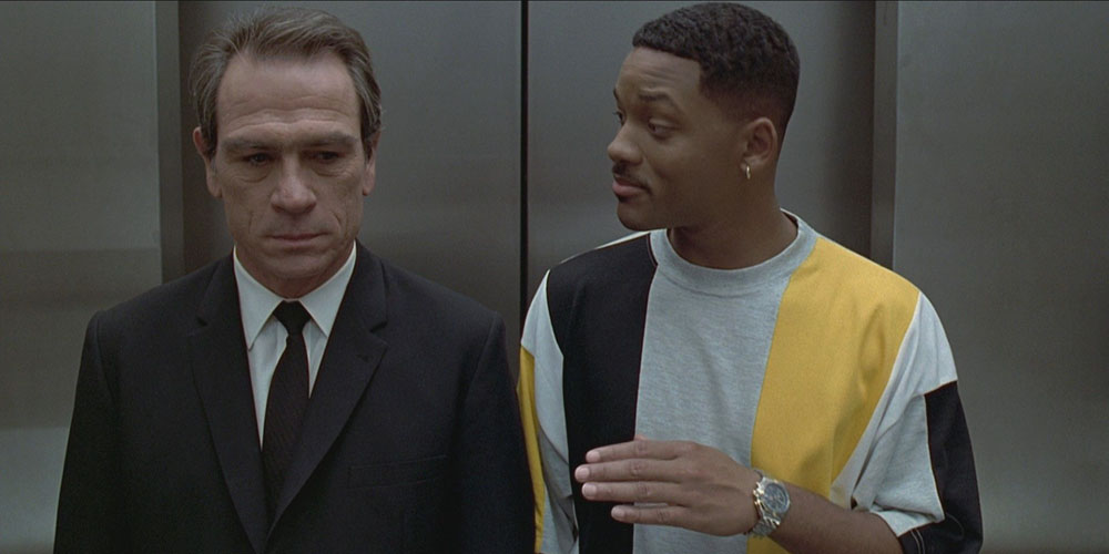 Agent Kay (Lee Jones) og Agent Jay (Smith) møtes i Men in Black i 1997