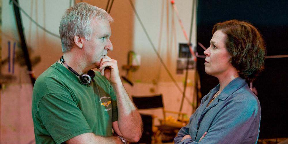 James Cameron og Sigourney Weaver under innspillingen av Avatar