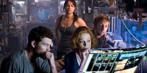 Sam Worthington,Michelle Rodriguez, Sigourney Weaver og Joel Moore i Avatar
