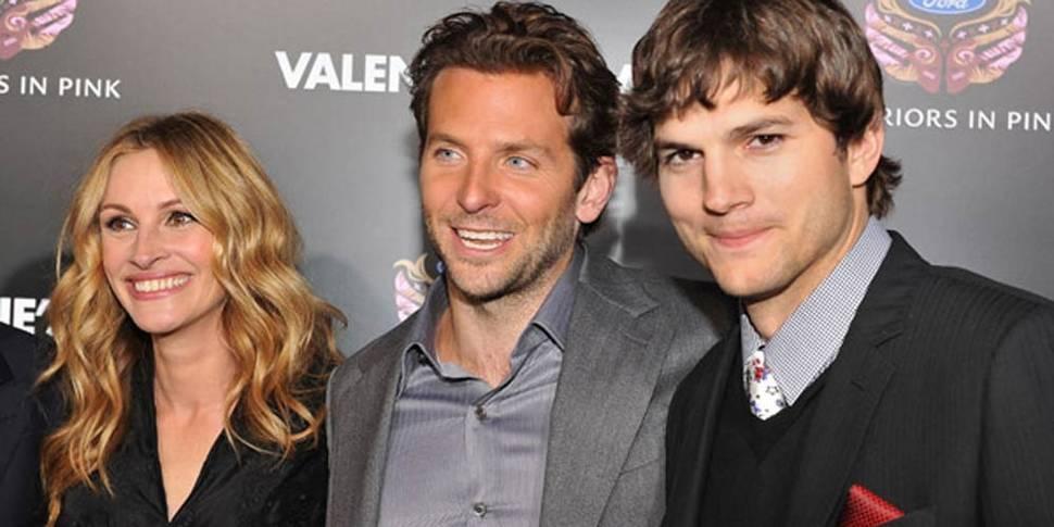 Julia Robserts, Bradley Cooper og Ashton Kutcher på Valentine's Day-premiere