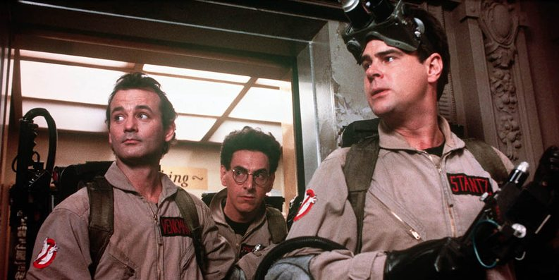 Bill Murray, Harold Ramis og Dan Aykroyd i Ghostbusters