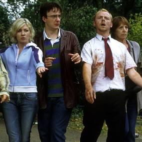 Lucy Davis, Lucy Davis, Dylan Moran, Simon Pegg, Penelope Wilton og Nick Frost i Shaun of the Dead