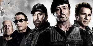 Bruce Willis, Jean-Claude Van Damme, Chuck Norris, Sylvester Stallone og Arnold Schwarzenegger i The Expendables 2