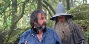 Peter Jackson og Ian McKellen under innspillingen av Hobbiten