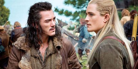 Luke Evans og Orlando Bloom i Hobbiten: Femhærerslaget