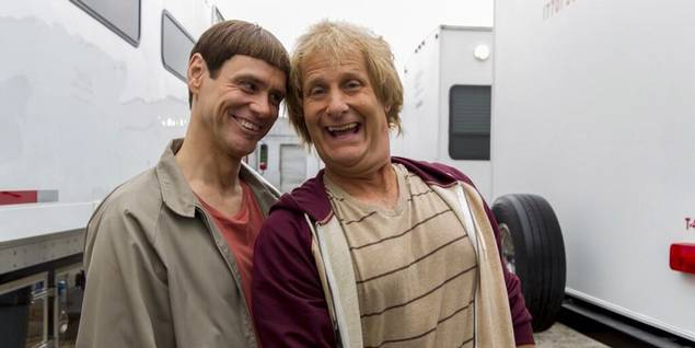 Jim Carrey og Jeff Daniels p� innspillingen til Dumb and Dumber To