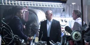 Paul Walker, Vin Diesel og og Kurt Russell på settet til Fast & Furious 7