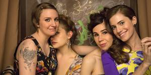 Lena Dunham, Jemima Kirke, Zosia Mamet og Allison Williams i Girls sesong 3