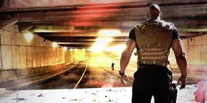 Dwayne Johnson under innspillingen til Fast & Furious 7