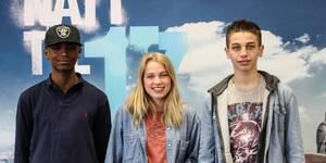 """Samakab Omar, Thea Sofie Loch Næss og Mohammed Alghoul på pressedag til filmen """"Natt til 17."""""""