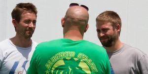 Caleb og Cody Walker på settet til Fast & Furious 7