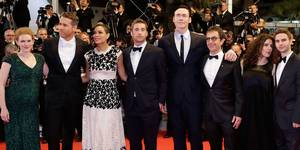 Skuespillerne fra The Captive i Cannes 2014: Mirielle Enos, Ryan reynolds, Rosario Dawson, Scott Speedman, Kevin Durand og Atom Egoyan