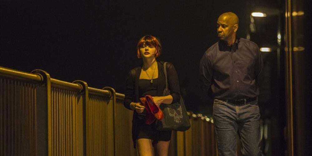 Chlöe Grace Moretz og Denzel Washington i The Equalizer