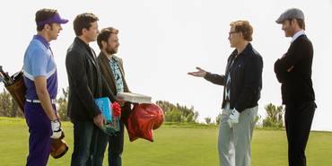Charlie Day, Jason Sudeikis, Jason Bateman, Christoph Waltz og Chris Pine i Horrible Bosses 2