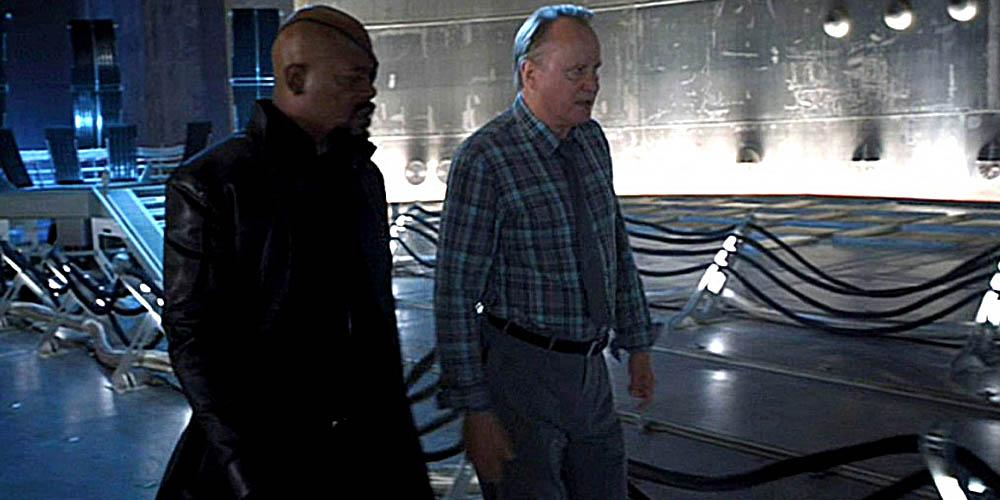 Samuel L. Jackson og Stellan Skarsgard i The Avengers