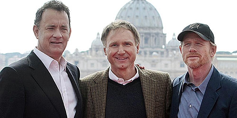 Tom Hanks, Dan Brown og Ron Howard i Roma.
