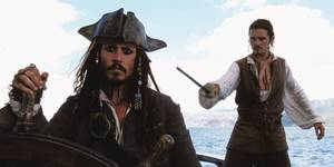 Johnny Depp og Orlando Bloom i Pirates of the Caribbean