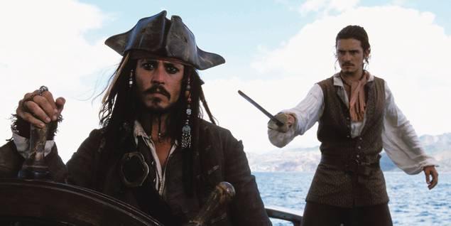 Johnny Depp og Orlando Bloom i Pirates of the Caribbean