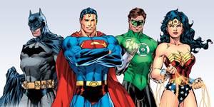 Batman, Supermann, Green Lantern og Wonder Woman fra DC Comics