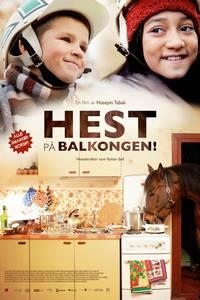 Hest på balkongen - norsk plakat