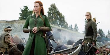 Evangeline Lilly og Orlando Bloom i Hobbiten: Femhærerslaget