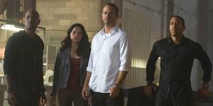 Tyrese Gibson, Michelle Rodriguez, Paul Walker og Ludacris i Fast & Furious 7