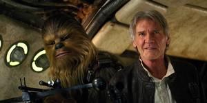 Chewbacca og Harrison Ford i Star Wars: The Force Awakens