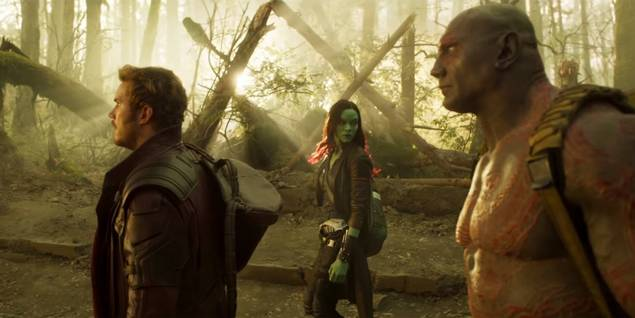 Chris Pratt, Zoe Saldana og Dave Bautista i Guardians of the Galaxy 2