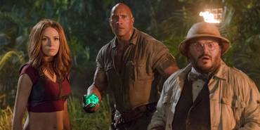 Karen Gillan, Dwayne Johnson og Jack Black i Jumanji: Welcome to the Jungle