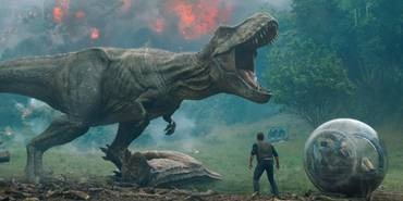 T-Rex og Chris Pratt i Jurassic World: Fallen Kingdom