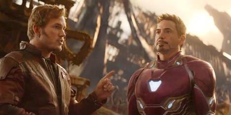 Chris Pratt og Robert Downey Jr. som Star Lord og Iron Man i Avengers: Infinity War