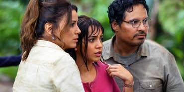 Eva Longoria, Isabela Moner og Michael Peña i Dora og den gyldne byen/Dora and The Lost City of Gold