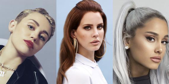Miley Cyrus, Lana del Rey og Ariana Grande