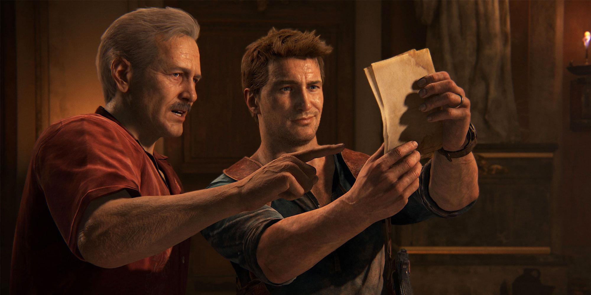 """Victor Sullivan og Nathan Drake i spillserien """"Uncharted""""."""