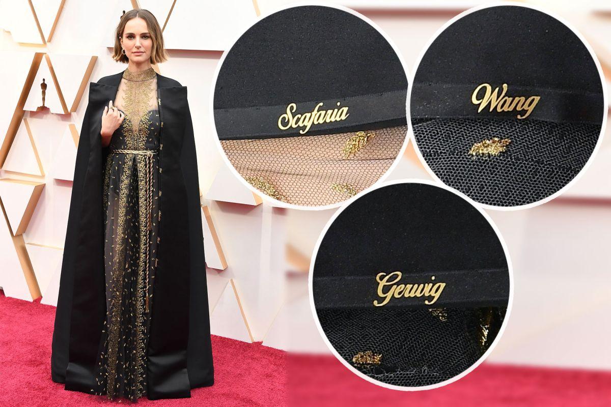 OSCAR-STUNT: Natalie Portman bar en Dior-kappe med navnene til åtte, ikke nominerte, kvinnelige regissører var brodert inn.
