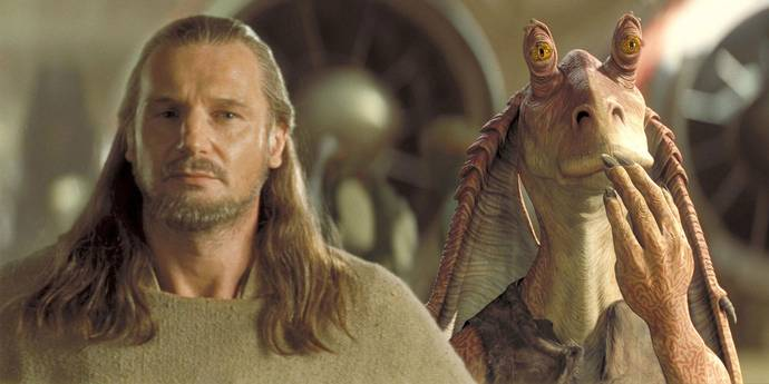 Liam Neeson og Jar Jar Binks i Star Wars: The Phantom Menace