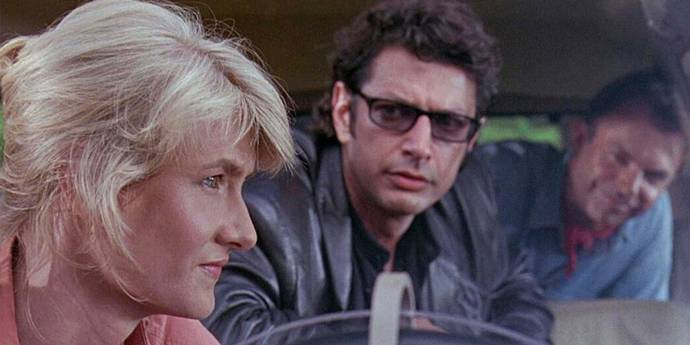 Laura Dern, Jeff Goldblum og Sam Neill i Jurassic Park
